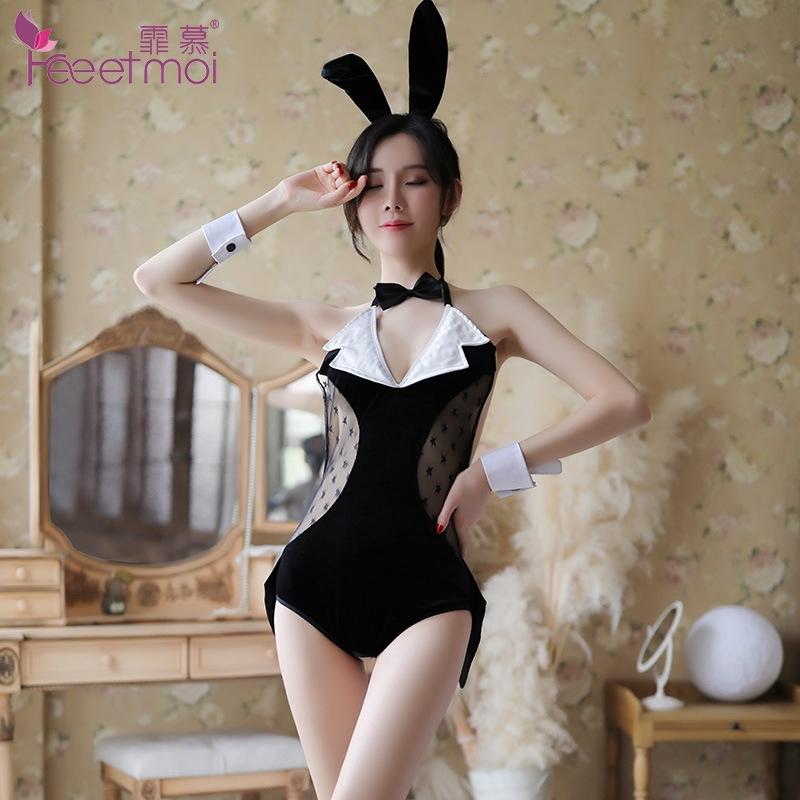 Bộ đồ lót bằng nhung hóa trang thành thỏ bunny gợi cảm quyến rũ