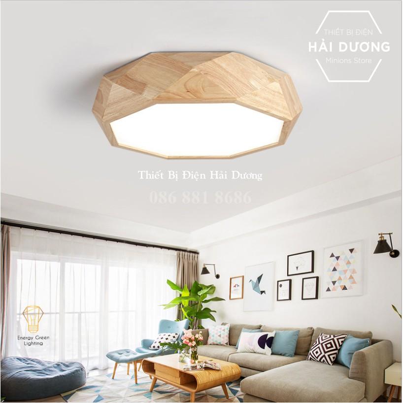 Đèn Ốp Trần Gỗ Đa Giác DGT-5010 - Đường Kính 55cm - 3 Chế Độ Ánh Sáng - Energy Green Lighting - Bảo Hành 12 Tháng