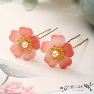 2PCS Simple Pink Flower White Pearl Decorated Gold Hair Clips Pins Bridesmaids Tiara Headband Bride Elegant Hair Jewelry