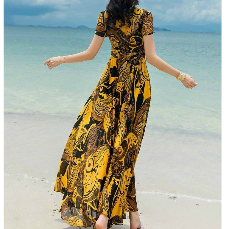 Mặc gì đẹp: Tung bay với Váy Xòe Nữ Đi Biển, Đầm Maxi Dáng Dài Xòe Cổ Tròn Họa Tiết Thanh Lịch 2 Lớp Chất Voan Lụa Cao Cấp