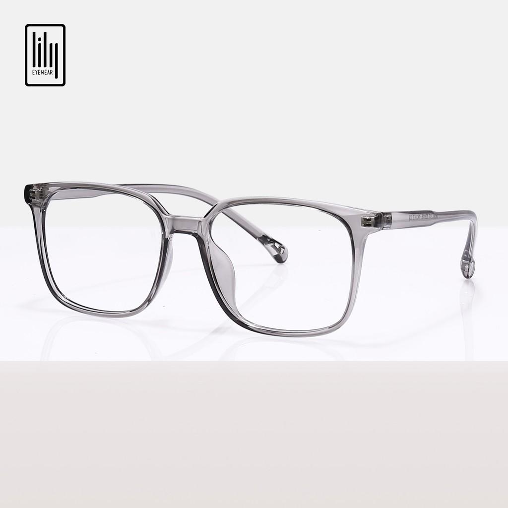 Gọng kính mắt vuông to đeo đi đường chống bụi thay mắt cận chất liệu nhựa dẻo thời trang nữ Lilyeyewear 217 nhiều màu