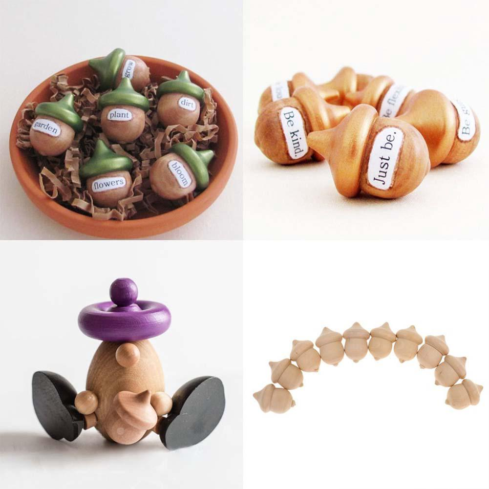 10pcs Wood Wedding Decor Novelty Unfinished Decoration Party Ornaments Wooden Acorns DIY Craft