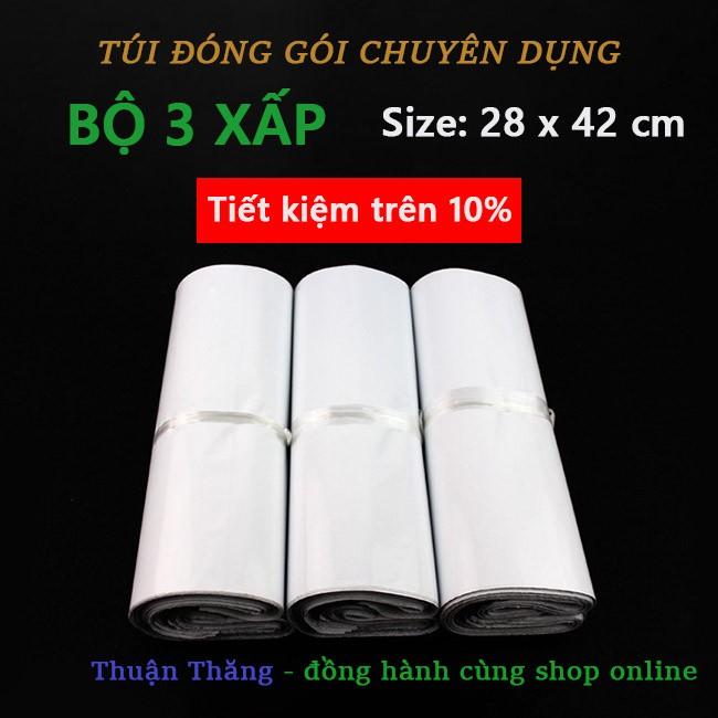 [COMBO] Bộ 3 xấp Túi đóng hàng PE (chuyên dụng, bảo mật, chống nước) size 28*42 cm màu trắng túi đón