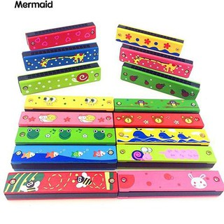 16 Holes Double Row Wood Harmonica Musical Instruments Educational Toy