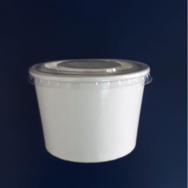 50 bát giấy 20oz ~ 600ml tô giấy kèm nắp trắng trơn thức ăn bún, mì, phở, tobokki, kem nhà hàng quán ăn