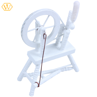 【W】1:12 scale doll house miniature hand reeling machine wooden spinning wheel white