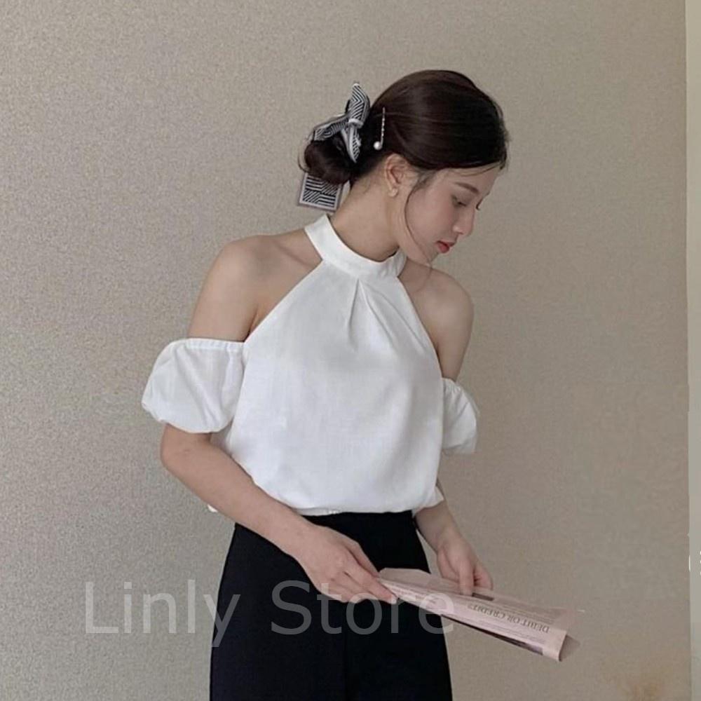 Áo hở vai cổ yếm 2 lớp – Áo trễ vai tay bồng chất linen – Croptop kiểu eo bo chun