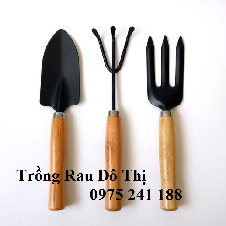 Bộ dụng cụ làm vườn 3 món cầm tay cán gỗ