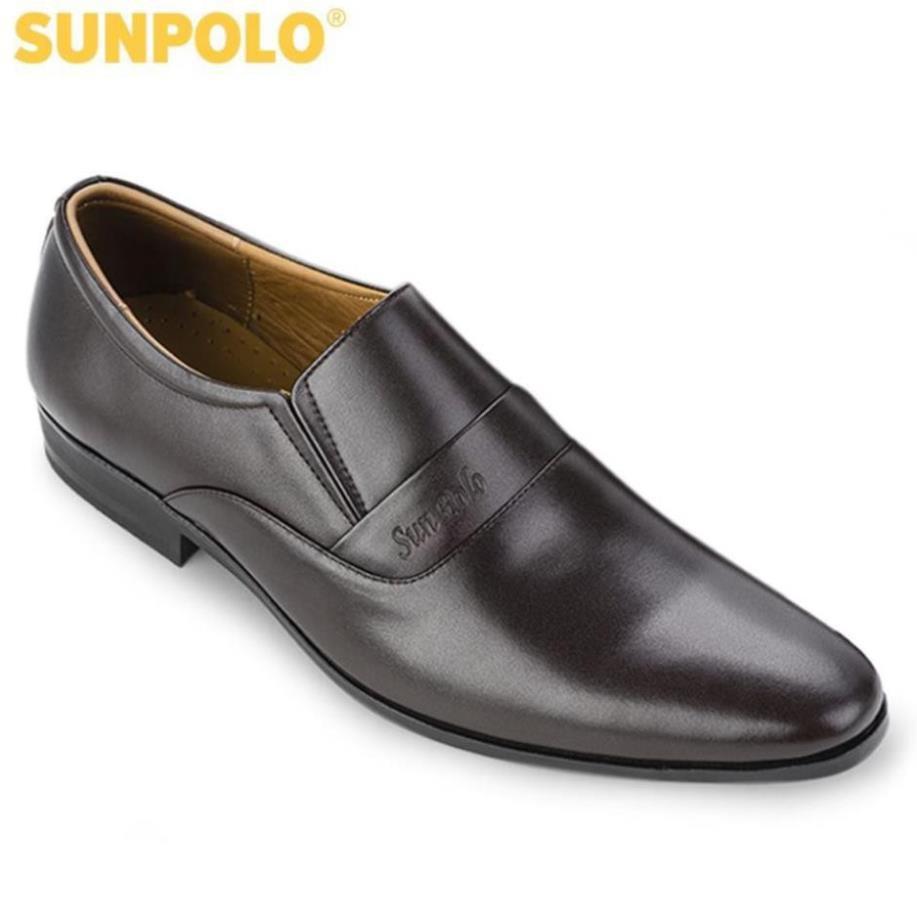 [Sale 3/3]Giày Tây Nam Da Bò SUNPOLO Đen Nâu - SUMU234DN -pi9