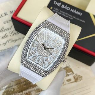 Đồng hồ nữ FM máy pin dây cao su mặt full đá cao cấp có bảo hành DHN002 - Shop108