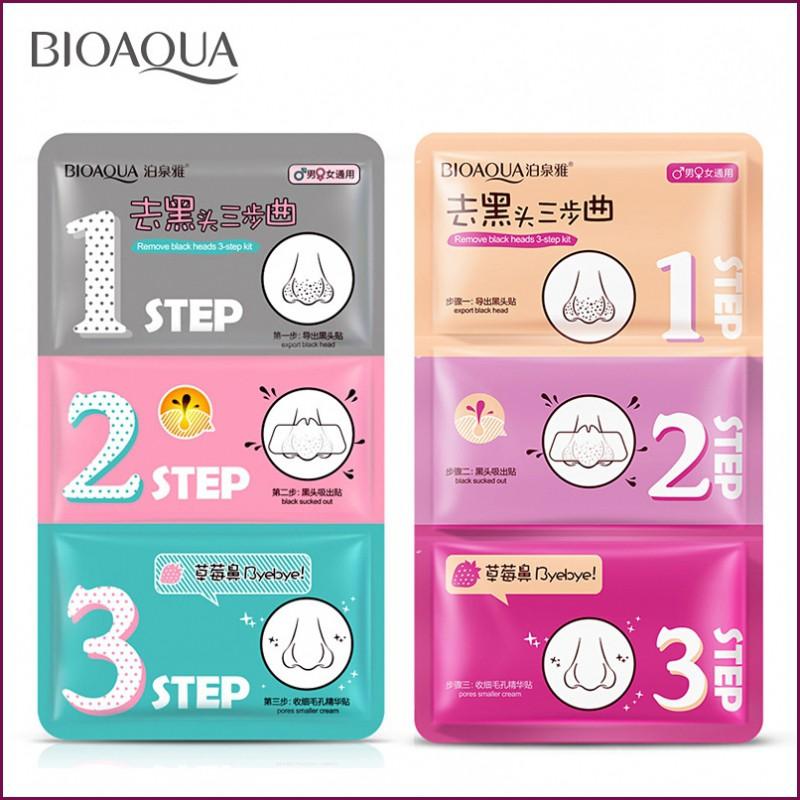 Mặt Nạ Lột Mụn Mũi Remove Black Heads 3 Step Kit của Bioaqua