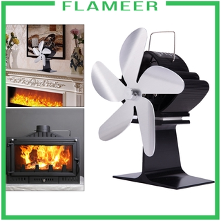 [FLAMEER]Wood Stove Fan Heat Powered Fireplace Log Burner Fireplace 5 Blades Black