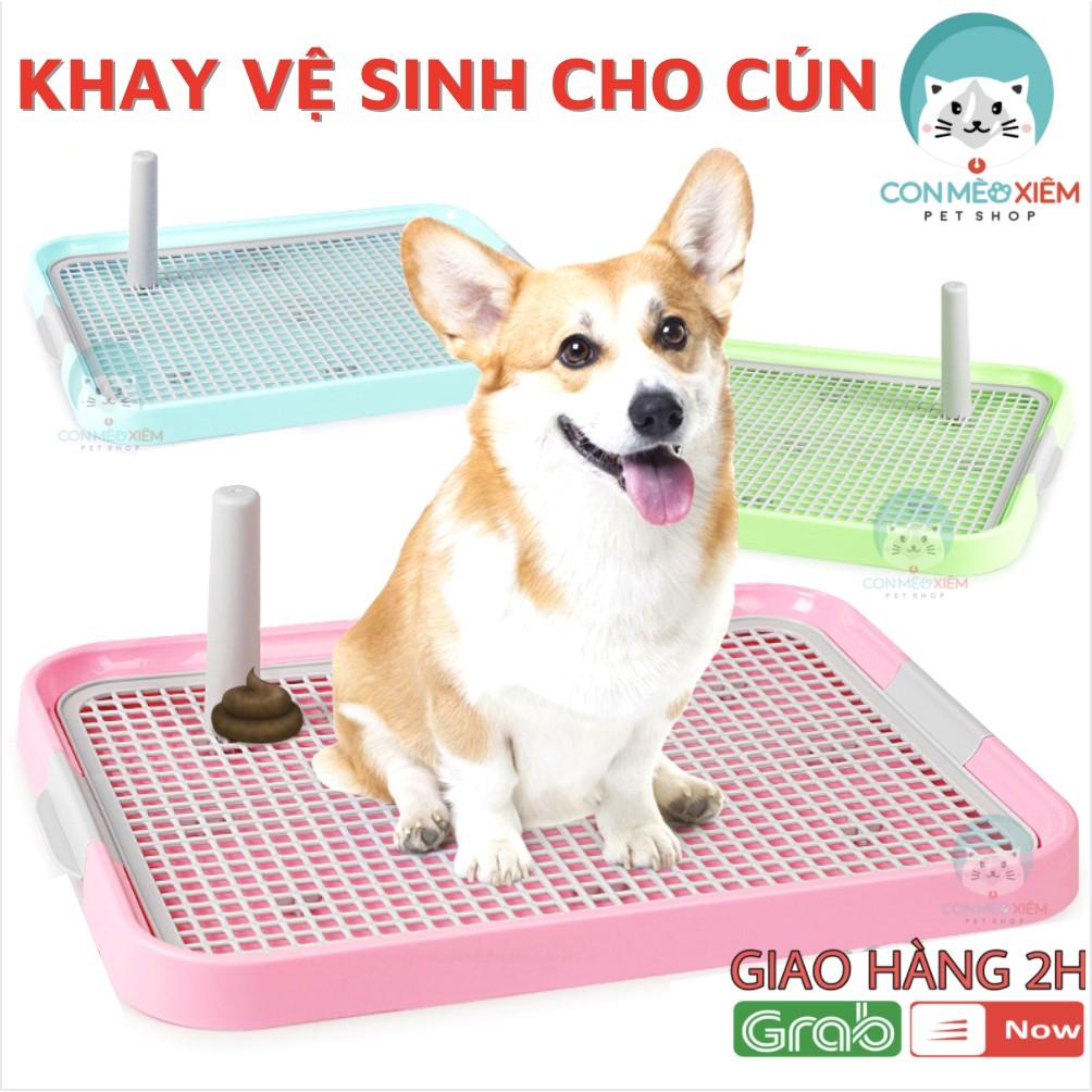 Khay vệ sinh cho chó hướng dẫn cún đi vệ sinh đúng chỗ có cọc- Đồ dùng vệ sinh thú Con Mèo Xiêm - Hồng