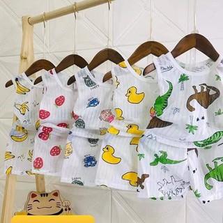 Bộ cotton giấy ba lỗ cho bé 3-15kg, hàng đẹp
