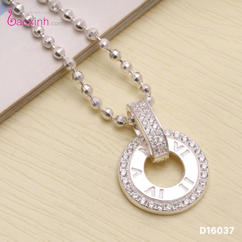 Mặt dây chuyền nữ trang sức bạc Ý S925 Bạc Xinh Vòng tròn La mã D16037
