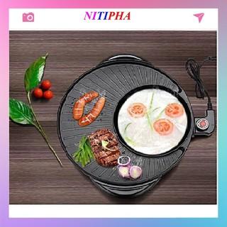 Bếp lẩu nướng 2 in 1 Mini Hàn Quốc 36cm ⚜️FREESHIP⚜️ Bếp Điện Đa Năng⚜️Nồi Đôi Mini Nướng và Lẩu 2 trong 1