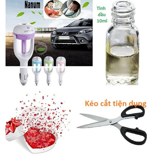 Máy khuếch tán tinh dầu tạo mùi thơm trên ô tô tặng lọ tinh dầu 10ml + kéo cắt tiện dụng