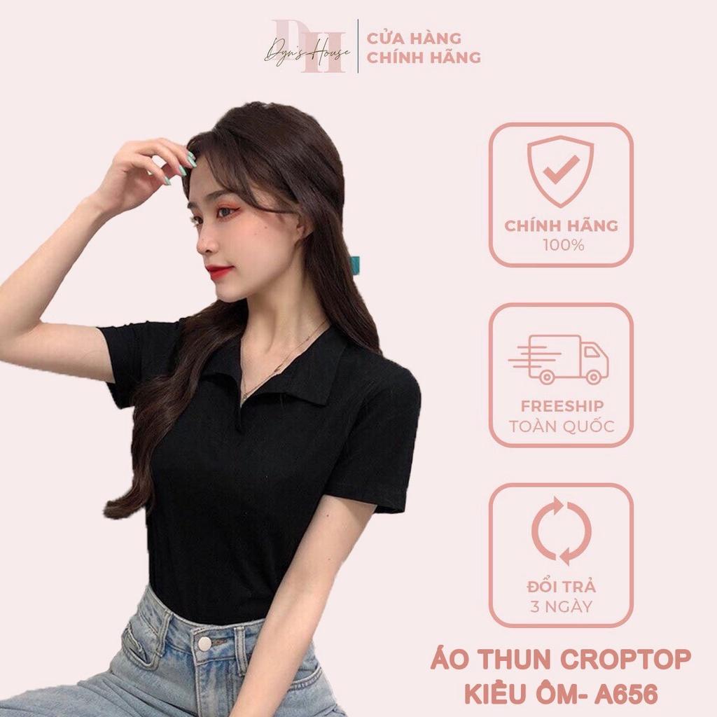- Áo thun crotop kiểu ôm, áo phông crotop tay ngắn có cổ phong cách Hàn Quốc thời trang DYN'S HOUSE - A656