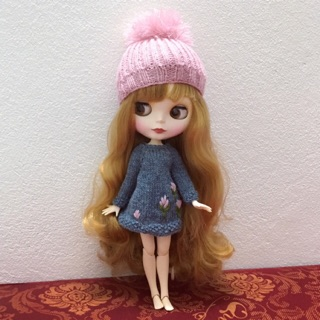 Set áo và mũ len Blythe đặt đan