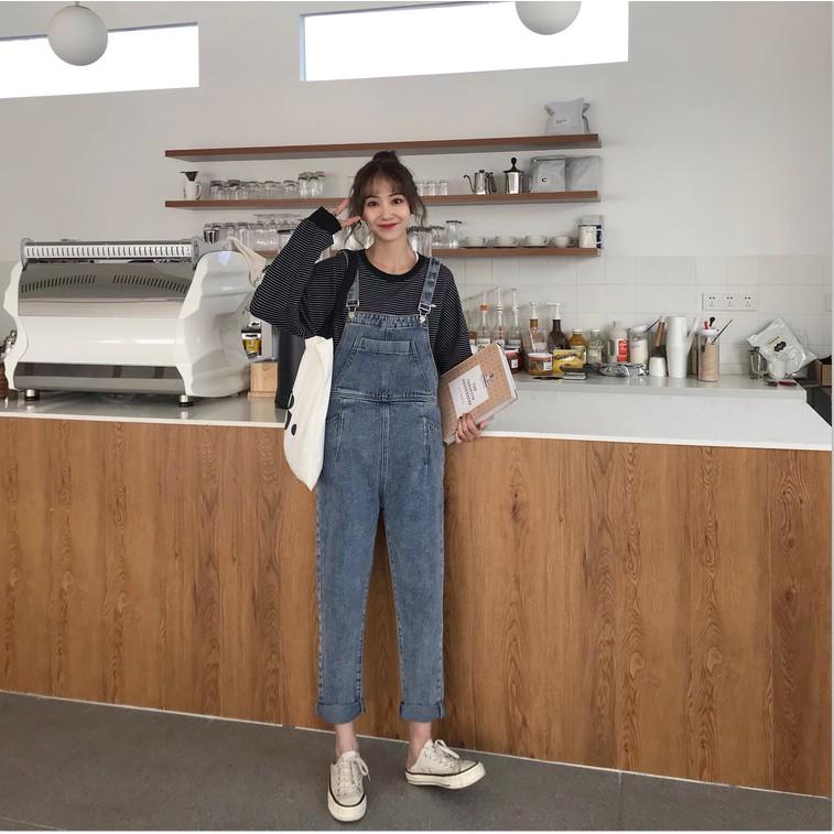 quần yếm jean phong cách hàn quốc trẻ trung dành cho nữ