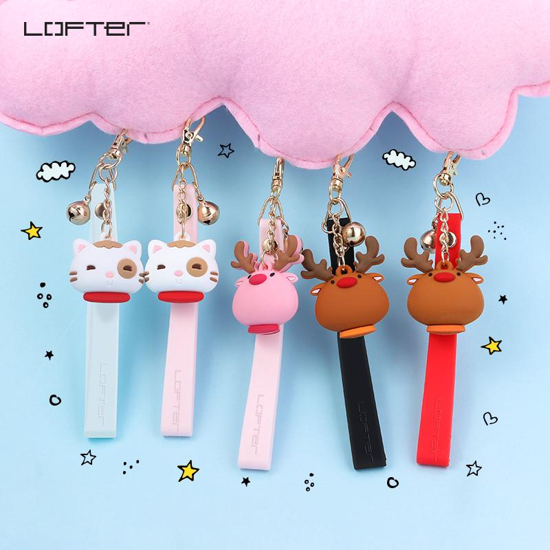 ♛♕Lofter Loft mobile phone hanging rope Bell apple short soft silicone women universal cartoon cute gift portable brace