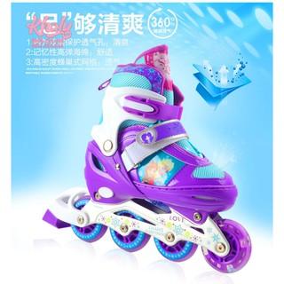 Combo Giày Trượt Patin Và Bộ Bảo Hộ Cao Cấp Mesuca hình các nàng công chúa Barbie , Frozen , Princess siêu xinh