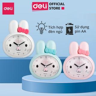 Đồng hồ báo thức thỏ hoạt hình Deli - Trắng/ Xanh/ Hồng - 8803