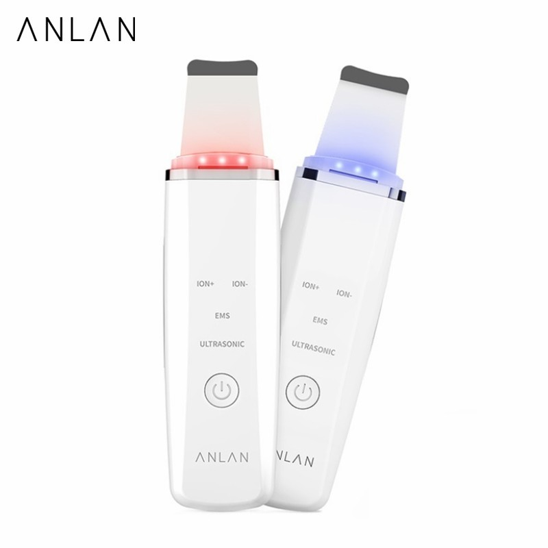 ANLAN Ultrasonic Skin Scrubber Cleansing Massage Machine With Red Blue Light Therapy