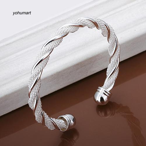 Vòng tay xi bạc thiết kế đơn giản cho nữ