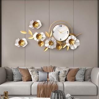 Đồng Hồ Treo Tường Trang Trí Decor DK122 quartz hoa mai vàng nội thất phòng khách cỡ lớn hiện đại