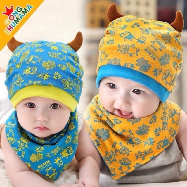 Mũ cotton kèm khăn yếm cho bé