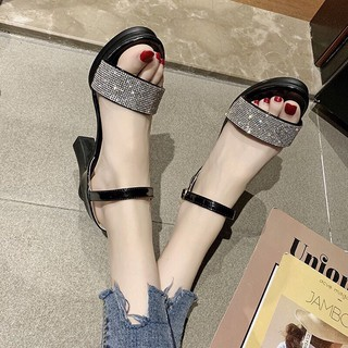 Sandal DaLang cao gót quai đá 8 phân