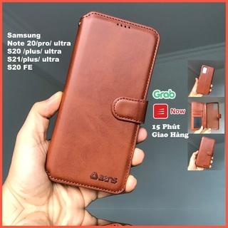 Bao da ốp lưng điện thoại samsung S20 S21 Plus ultra FE – Note 20 ultra plus + kèm ví gập nắp da thật mềm mịn – azns