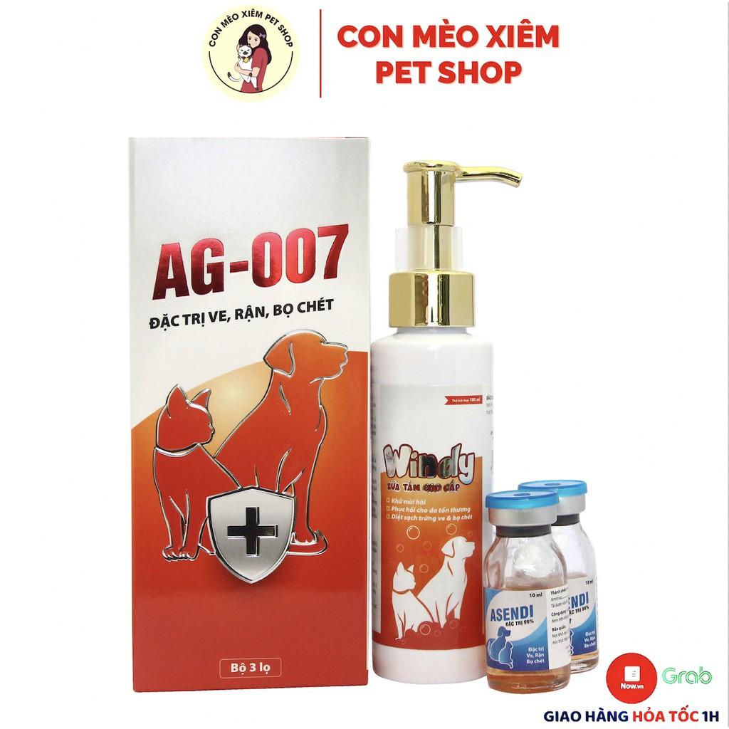 Bộ sạch ve chó mèo Combo sữa tắm và xịt ve rận, ký sinh AG-007 AGRIVIET - Đặc trị ve cho chó mèo Con Mèo Xiêm - SỮA TẮM + 2 THUỐC