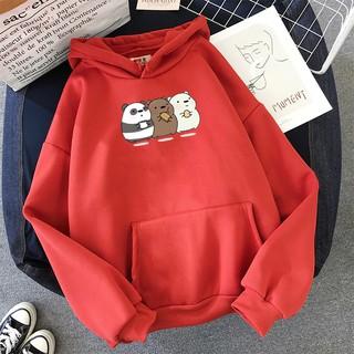 Áo Hoodie Nữ form rộng Cotton Nỉ da cá (Kèm hình thật chất áo có Logo Thương hiệu) 3 chú Gấu BEAR đang ăn thumbnail