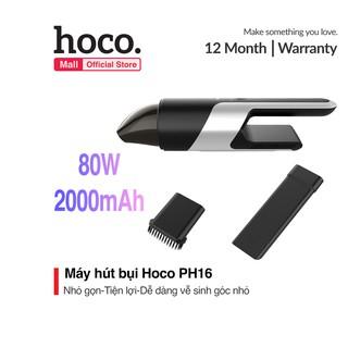 Máy hút bụi cầm tay Hoco PH16 đầu hút nhỏ gọn dễ dàng vệ sinh mọi ngóc ngách trong xe tặng kèm 1 đầu quét hút bụi