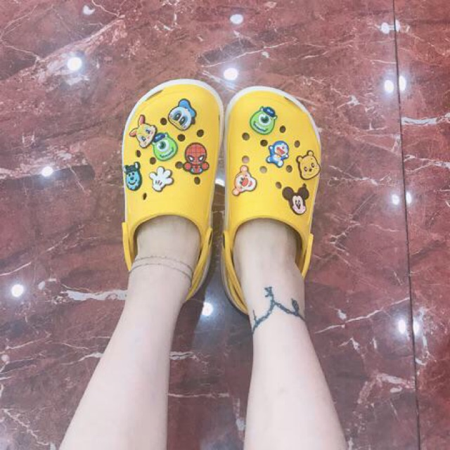 (Sock:Tặng 8 sticker gắn dép & 2 sticker gắn ốp đt) Dép satihu Màu vàng cực xinh