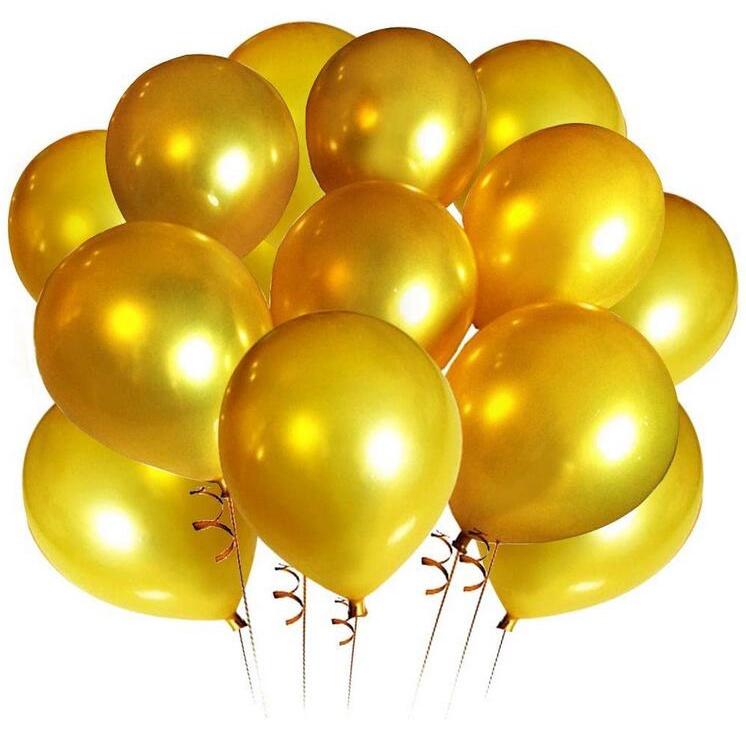 Set 10 bong bóng vàng 12 inch trang trí tiệc tốt nghiệp/ sinh nhật/ đám cưới/ lễ tốt nghiệp