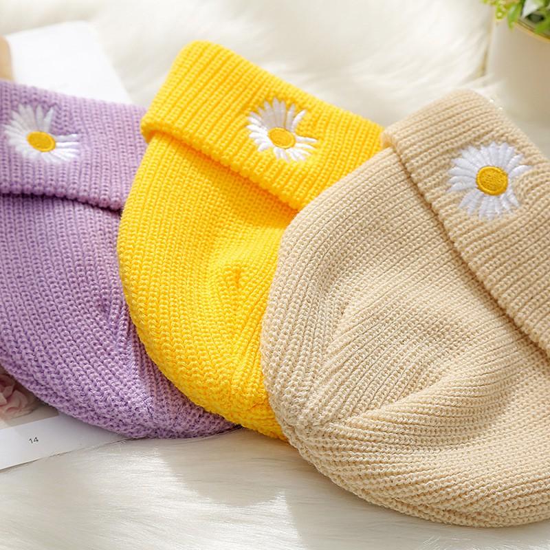 Mũ chóp len bé trai bé gái hoa cúc Daisy - Nón len hoa cúc cho bé