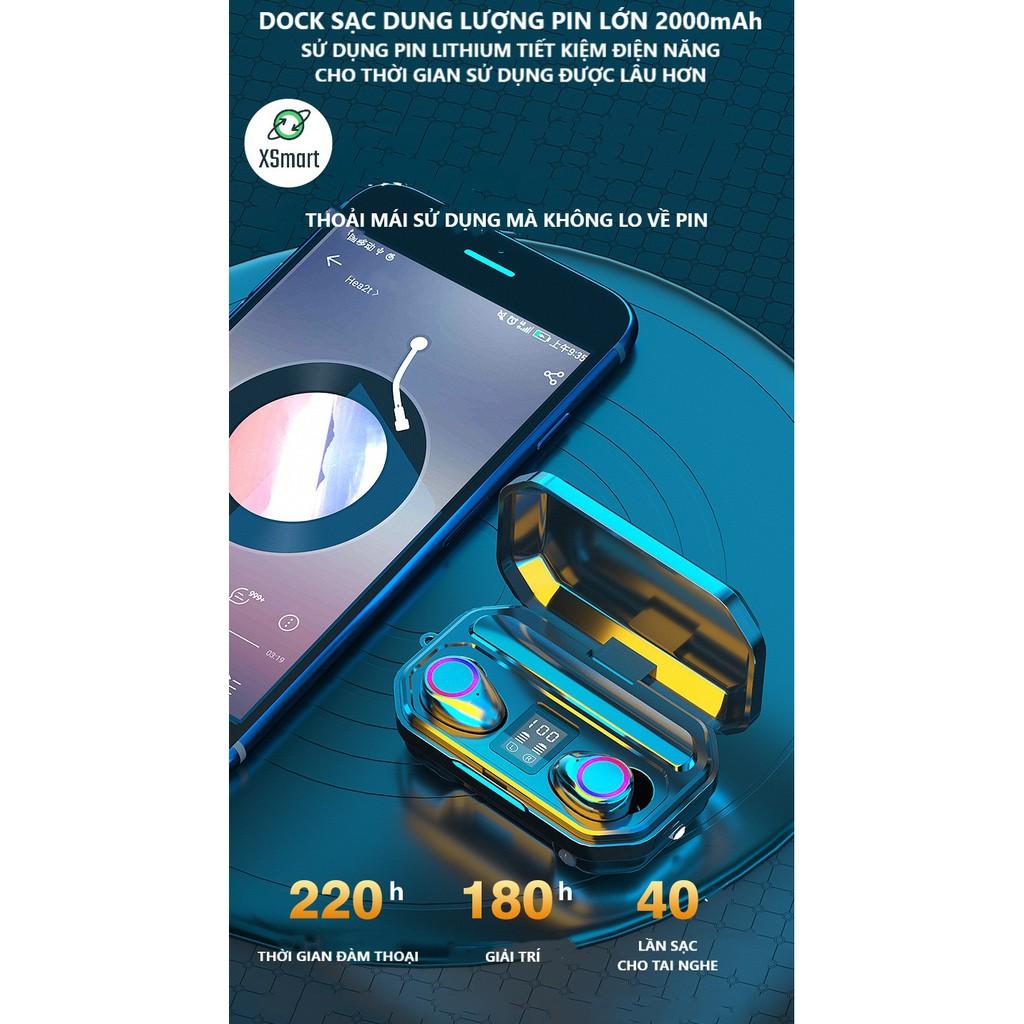 Tai Nghe Bluetooth Không Dây Cảm Ứng M12 PRO BASS Màn Hình LED Kiêm Sạc Dự Phòng Điện Thoại Có Đèn Pin, Có Mic, Dock Sạc