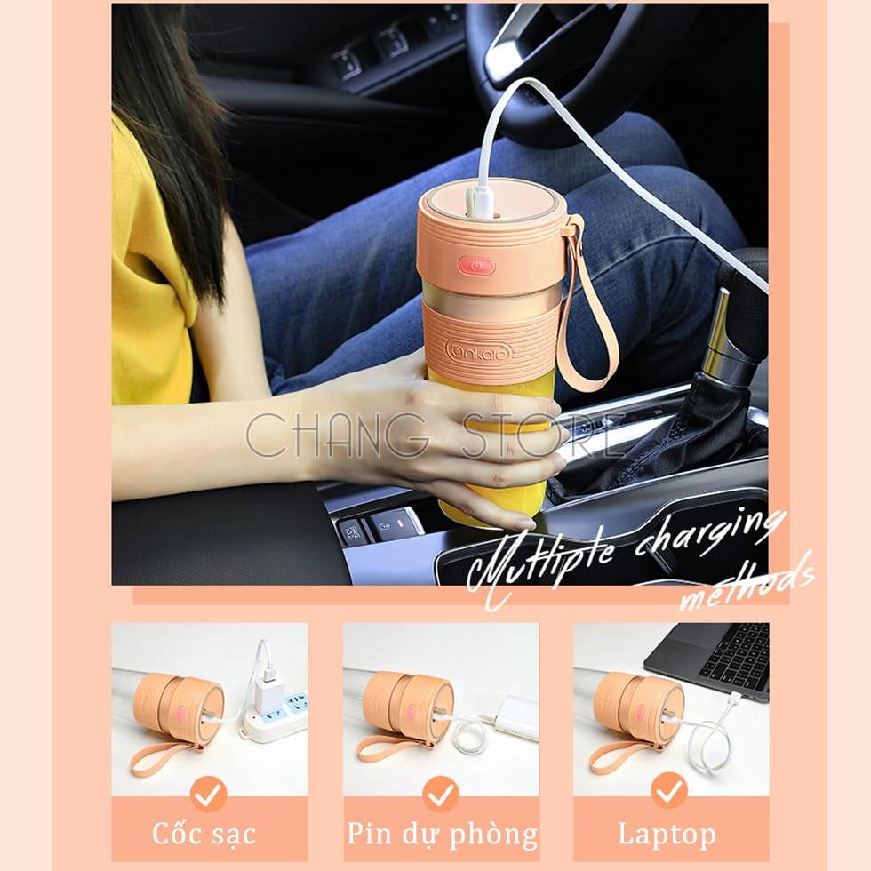 Máy xay sinh tố cầm tay mini dung tích 300ml hàng nhập khẩu sạc pin chất liệu nhựa ABS