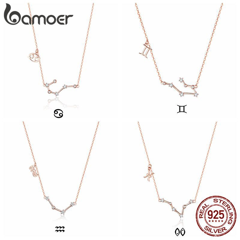 Bamoer® Constellations Rose Gold Plated 925 Silver Chain Necklace Zircon Pendant