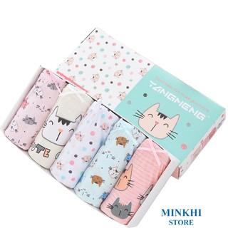 Quần lót bé gái, quần chip bé gái hộp 5 cái MINKHI 126004