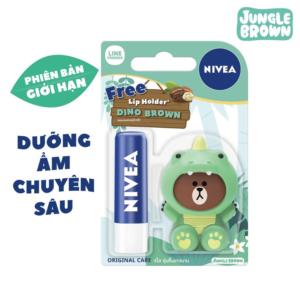 Son dưỡng ẩm Nivea chuyên sâu (4.8g) 85061 + Tặng ốp son Khủng Long (Phiên bản LINE giới hạn)