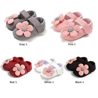 Đôi giày đế mềm chống trượt thiết kế đính bông hoa xinh xắn mùa thu cho bé gái 0-18 tháng tập đi