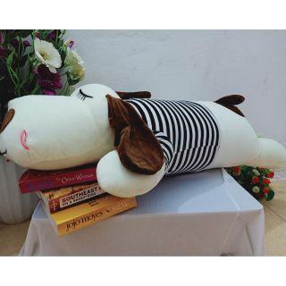 Thú nhồi bông, chú chó dài, ngủ, màu trắng,ngộ nghĩnh đáng yêu,kv 1m2