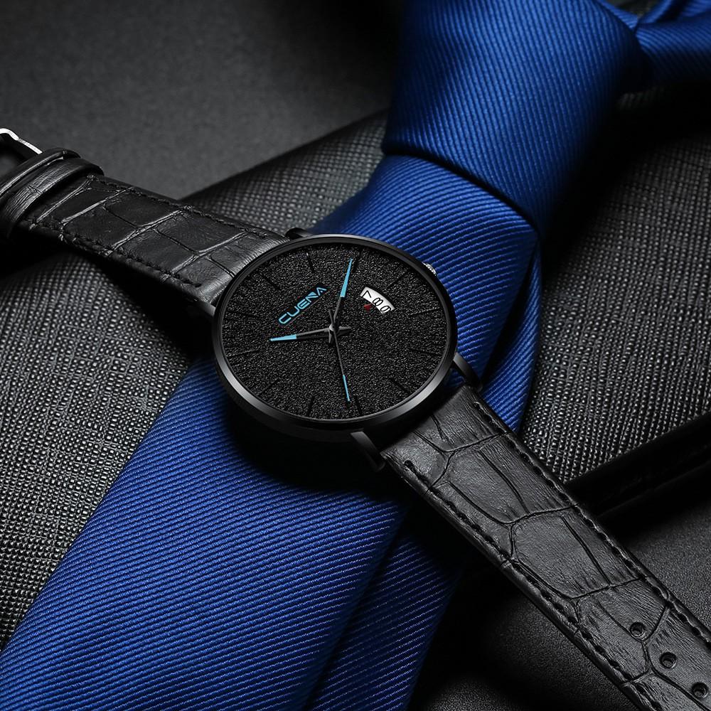 Đồng hồ nam CUENA JAPAN CU866 Siêu mỏng Lịch Ngày Sang trọng Dây Da Cao Cấp