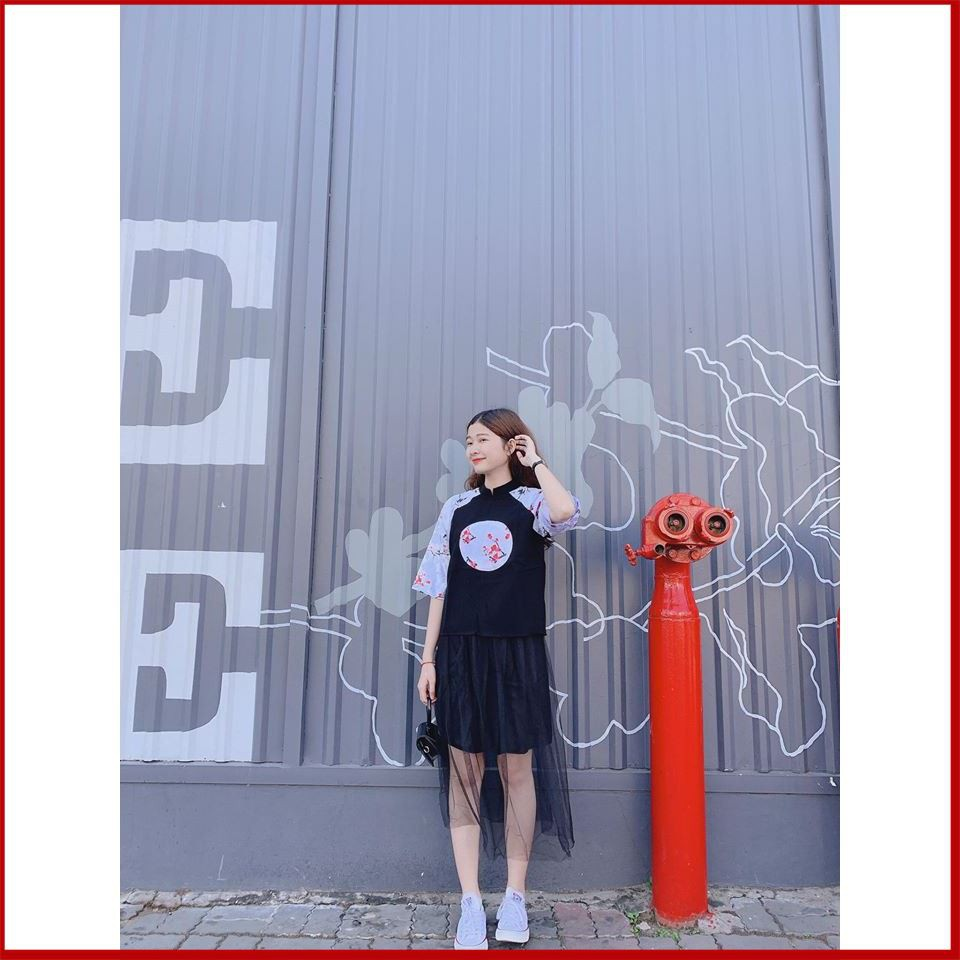 [Trợ giá] Áo Cổ Tàu Phối Gấm Hoa Chân Váy Lưới Dáng Xuông Trơn Tay Ngắn Siêu chất