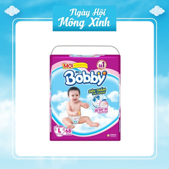 (quà theo phân loại) Tã dán bobby M76/L68/XL62/XXL56