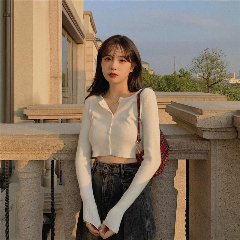 Áo Croptop YAN Tay Dài Nữ Hàn Quốc